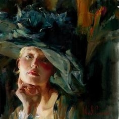 Love this composition for a head-only portrait :::Michael and Inessa Garmash | Ukraina | Romantic Impressionists painters