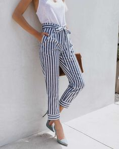 Cheap Pants & Capris, Buy Directly from China Suppliers:Self Belt Blue Striped Pants Women fashion Clothing High Waist Zipper Fly Trousers 2018 Spring New Casual Patchwork Pants Paperbag Pants, Cigarette Trousers, Cute Spring Outfits, Nice Outfits, Mein Style, Pants For Women, Clothes For Women, Stripes Fashion, Fashion Outfits
