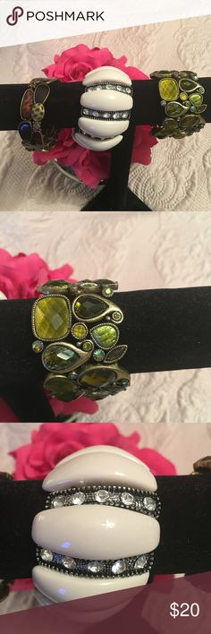 Bracelets in lot of 3. All are stretch bracelets. Bracelets in lot of 3. All are stretch bracelets.  The green one, and the animal print are Lia Sophia, the off white is Chicos. Lia Sophia Jewelry Bracelets