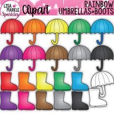 Umbrella and Rain Boot Clipart Rainbow Spring Rain Clipart, File Folder Activities, Folder Games, Color Activities, Counting Activities, Finger Plays, Alphabet For Kids, Circle Time, Classroom Decor