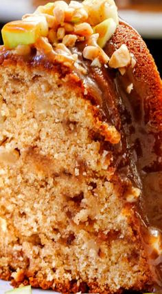 Toffee Apple Pound Cake ~ Bursting with sweet toffee bits and cinnamon apples all smothered in the most lick-the-plate-delicious Spiced Caramel Sauce... Everyone will go crazy over this cake!