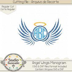 Angel Wings Monogram, Angel Wings, Monogram, Angel, Wings, Monograma asas de anjo, Monograma, asa, asas, anjo, heaven, céu, ceu, anjos, arcanjo, arcanjos, archangel, arquivo de recorte, corte regular, regular cut, svg, dxf, png, Studio Ilustrado, Silhouette, cutting file, cutting, cricut, scan n cut.