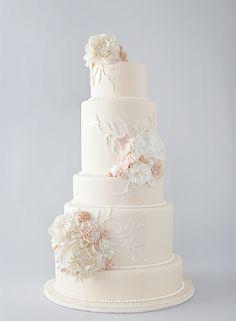 Pastel Vintage Inspired Wedding Cake