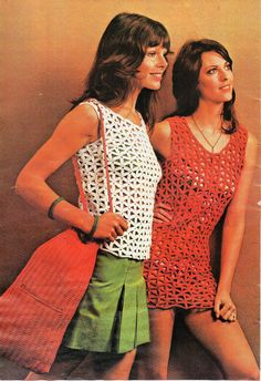 Womens CROCHET PATTERN pdf womens crochet tops crocheted beach tops cover ups crochet bag retro 70s 32-38inch DK Light Worsted 8Ply Download