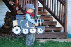 halloween-costumes-for-boys  Choo, Choo  Use a cardboard box to make a train costume and mom and dad can be the crossing signs.  Find out more at The Ophffs