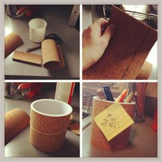 Easy DIY pen holder. All you need is an empty frosting container (oh darn) or can, piece of cork (found at any craft store), glue, and rubberbands. Cut the cork to the length you need, glue it on, use rubberband to hold it in place, once dry, enjoy!
