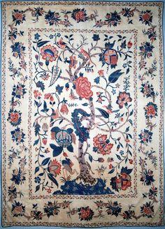 Palampore au héron. Coton peint et teint. Inde, côte de Coromandel, début du XVIIIe siècle. ( MADOI - n° inv. TEX.1991.744)