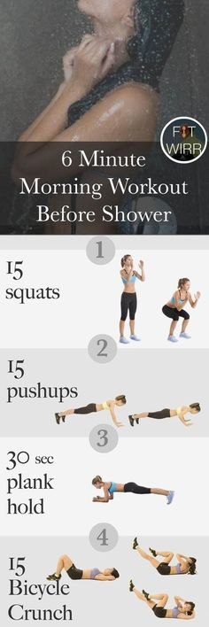 nice 6 minute workout before you shower in the morning , I want to make this 6 minute workout part of my morning ritual. Do you work out or do yoga before you shower in the morning? How do you start your da... , #exercise #healthylifestyle #healthylifestyletips