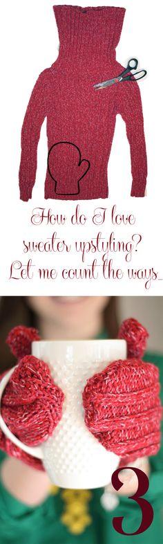 http://thriftdee.com/2013/02/sweater-week-day-3/ Recycler un pull en moufles