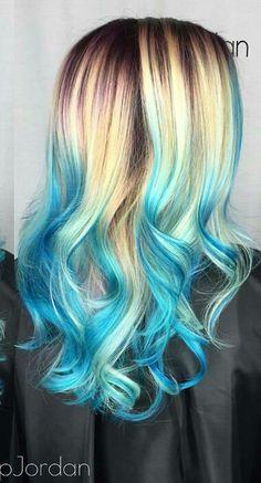 Hair color tips blue turquoise ideas - hair - Hair Hair Dye Colors, Ombre Hair Color, Blonde Color, Blonde Hair With Blue Highlights, Blonde And Blue Hair, Blonde Dip Dye, Blond Ombre, Dip Dyed, Twisted Hair
