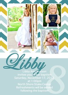 adorable chevron LDS baptism invitation by jisforjordy on Etsy