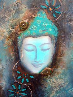 """""""Luminous emptiness"""" Original abstract Buddha Painting by Tara Catalano"""