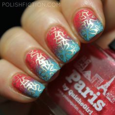 piCture pOlish Paris ja Cyan gradient nail art with stamping