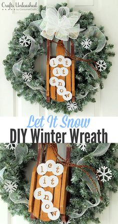 DIY Winter Wreath: Let It Snow - Crafts Unleashed. Use Snow Tex to add a sprinkling of snow on green wreaths.