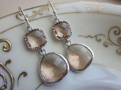 Champagne Peach Earrings Pink Silver Two Tier - Bridesmaid Earrings - Wedding Earrings - Christmas Gift