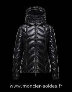 3acdf8da4b56 Doudoune Moncler Badete Blouson Femme Noir Polyamide 41464877Cn Blouson été  Down Coat, Hooded Jacket,