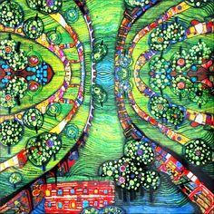 """Art Print. Friedensreich Hundertwasser """"Green Town"""". Giclee Fine Art Print #hundertwasser #art"""
