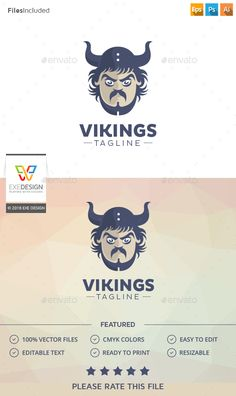 Viking Logo — Photoshop PSD #hammer #workout • Available here → https://graphicriver.net/item/viking-logo/15581872?ref=pxcr