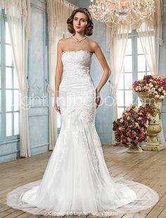 Lanting Bride® Trumpet / Mermaid Plus Sizes / Petite Wedding Dress - Classic & Timeless / Glamorous & DramaticWedding Dresses With Wrap / 2016 - $169.99