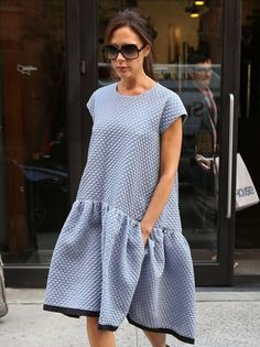@roressclothes clothing ideas #women fashion Victoria Beckham: Loose Blue Day Dress by Victoria Beckham