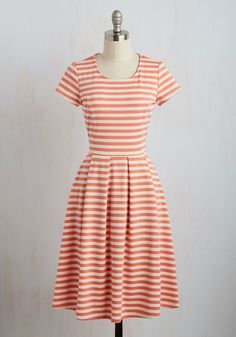 Grace on the Go Dress - Pink, Stripes, Print, A-line, Short Sleeves, Spring, Knit, Good, Casual, Long, Tan / Cream