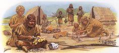 Jagers en verzamelaars in een tijdelijk kamp. Er is een duidelijke rolverdeling tussen mannen en vrouwen.  De stam kan alleen dingen maken die ze ook kunnen dragen.