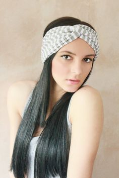 Turban Twist - Turban Headband, Boho Headband, Hippie Headband, Workout headband, Sweatband, Headwrap, Fabric Hairband - Grey Stripes