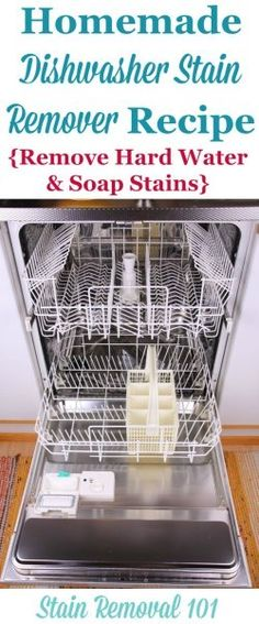Simple and frugal homemade dishwasher stain remover recipe, used for removing hard water and soap stains on Stain Removal 101 Deep Cleaning Tips, Cleaning Solutions, Cleaning Hacks, Dishwasher Cleaner, Clean Dishwasher, Ana White, Clean Baking Pans, Hard Water Stains, Homemade Cleaning Products