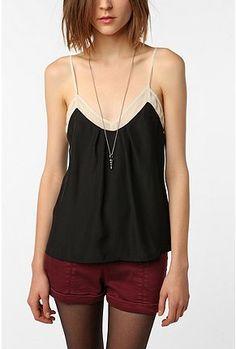 basic loose black cami with sheer white lining