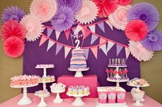 Pink and Purple are the two color scheme for this birthday party. The color combination goes perfectly together from the decorations to the food that is displayed on the table. Always create a theme for a birthday party either a color scheme or character theme. Then just design the whole party decor with your birthday idea.