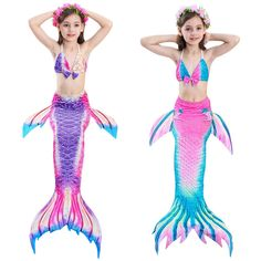 New Style Children Mermaid Tails With Monofin Girls Cosplay Costumes Swimming Mermaid Tail Mermaid Swimsuit Flipper For Girls Mother & Kids