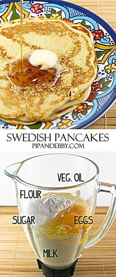 Grandma's Swedish Pancakes Recipe – traditional recipe! Grandma Linnea's Famous Swedish Pancakes Breakfast Desayunos, Breakfast Dishes, Breakfast Recipes, Pancake Recipes, Avacado Breakfast, Fodmap Breakfast, Breakfast Healthy, Breakfast Ideas, Pancake