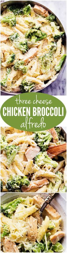 This Three Cheese Chicken Broccoli alfredo is one of the BEST things you will ever make. The creamy three cheese homemade alfredo is out of this world!!