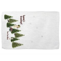 Jack Russell Pink Poinsettias Kitchen Towel