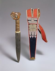 Tlingit (Alaska), Dagger and Sheath, wood/abalone/ivory/metal/beads/wool/cotton, c. 1850/60.    I suspect the sheath may be Tahltan