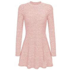 Yoins Pink High Neck Long Sleeve Knit Casual Dress (70 PEN) ❤ liked on Polyvore featuring dresses, yoins, pink, longsleeve dress, knit dress, pink knit dress, long sleeve dress and high neck long sleeve dress
