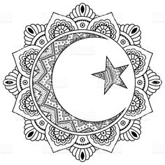 hippie tattoo 626844841862931165 - Circular pattern in form of mandala for Henna, Mehndi, tattoo, decoration. Decorative ornament in oriental style with Religious Islamic symbol of Star and Crescent. Coloring book page. Adult Coloring Book Pages, Mandala Coloring Pages, Colouring Pages, Coloring Books, Mandalas Painting, Mandalas Drawing, Mandala Art, Moon Mandala, Dotwork Tattoo Mandala