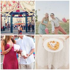 Carnival Date Inspiration, lights, popcorn, cotton candy, red dress, funnel cake, pearls, carnival entrance