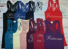 Items similar to Brides Entourage Bridesmaid Bride Lace. Matching Shirts on Etsy Wedding Bells, Our Wedding, Dream Wedding, Party Wedding, Bridesmaid Flowers, Bridesmaids, Rainbow Wedding, Best Friend Wedding, Maid Of Honor