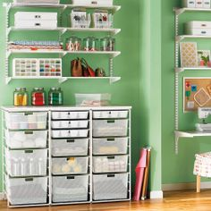 Shelving is a versatile solution to craft storage - Storage and Design Tips for a Craft Room - Sewing Room Organization, Craft Room Storage, Bedroom Storage, Craft Rooms, Storage Ideas, Shelving Ideas, Wall Storage, Office Organization, Organized Office