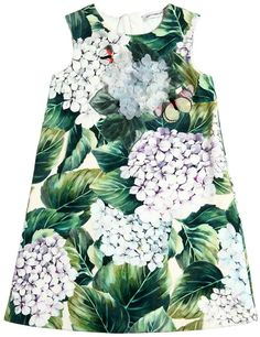 Hydrangea Print Cotton Interlock Dress #ad