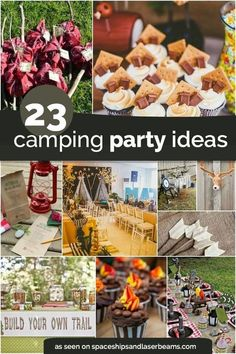 A camping themed party lends itself to so many fun outdoor-inspired designs so we've rounded up 23 awesome camping party ideas for you to check out. We especially love the creative Coleman lantern cake, build-your-own trail mix bar and yummy s'more party favors. But... #birthday #boys #camping
