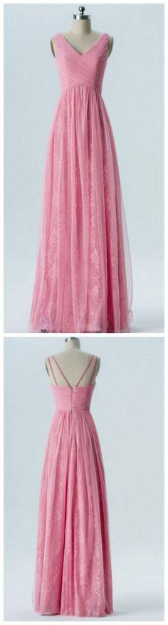 Bridesmaid Dress A-Line, Chiffon Bridesmaid Dress, V-Neck Bridesmaid Dress, Pink Bridesmaid Dress on Luulla Pink Bridesmaid Dresses, Prom Dresses, Formal Dresses, Long Dresses, Bridesmaids, Mermaid Skirt, Lace Evening Dresses, Party Dress, Chiffon
