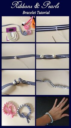 Ribbons and Pearls bracelet tutorial
