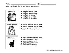 Students practice /k/ articulation in structured 4 word sentences about pumpkins, jack o'lanterns, and black cats.