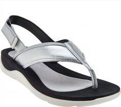 64.33$  Watch here - http://vicdu.justgood.pw/vig/item.php?t=uqfrt6r48766 - Clarks Leather Sport Thong Sandals Caval Kora Silver Leather 11M NEW A276058