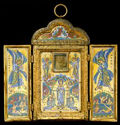Triptych Reliquary of the True Cross/Guennol Triptych, c.1160-70; its iconography is tied to the relic of the True Cross; the wings feature trumpet-blowing angels and the resurrection of the dead; the central panel depicts the personifications of Justice (with scales of judgment), Prayer, Alms-giving, Mercy, Piety and 'all nations'; instruments of the Passion are also depicted. (learn.columbia.edu)