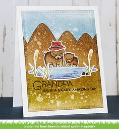 Lawn Fawn - Dad + Me, Stitched Mountain Borders, Cross-Stitched Rectangle Stackables _  card by Nichol for Lawn Fawn Design Team