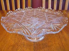 Similar to mine, but pattern is slightly different. Plate Stands, Butterfly Chair, Pressed Glass, Cake Plates, Antique Glass, Depression, Chairs, Collections, Fan