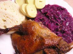 Kačena na medu pouťová Meatloaf, Steak, Cabbage, Pork, Food And Drink, Chicken, Vegetables, Cooking, Health